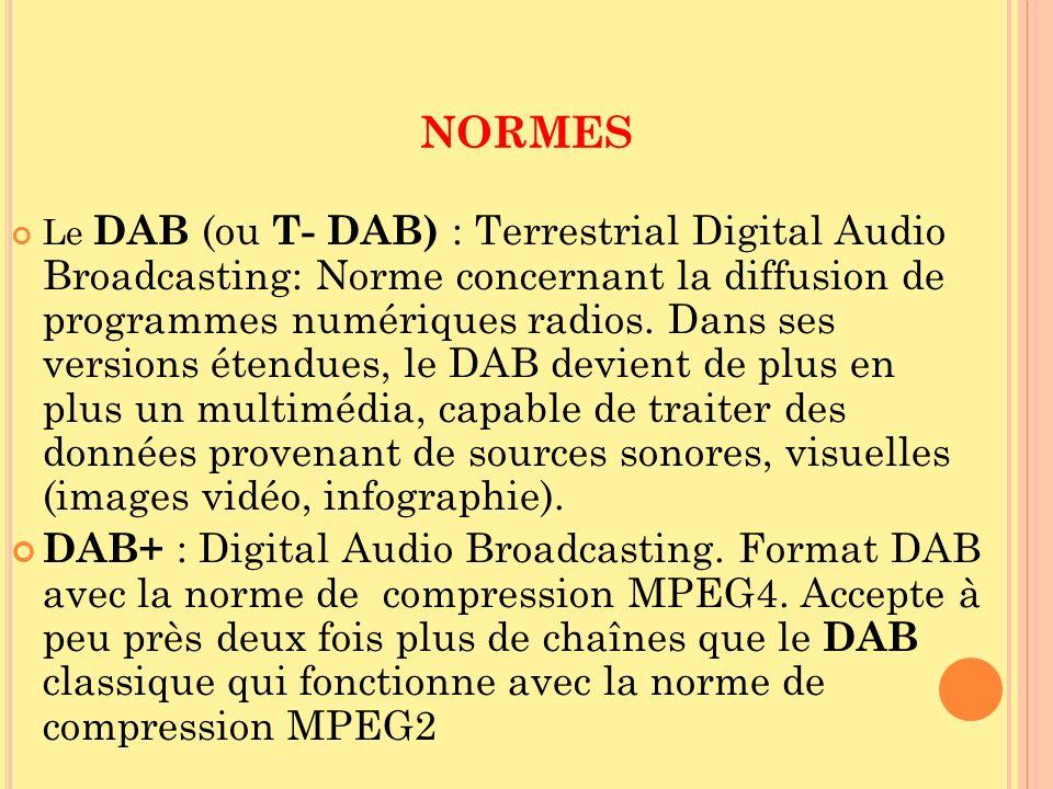 NORMES Le DAB (ou T- DAB) : Terrestrial Digital Audio Broadcasting: Norme concernant la diffusion de programmes numériques radios. Dans ses versions é