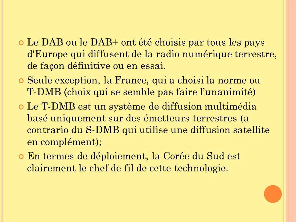 Le DAB ou le DAB+ ont été choisis par tous les pays d'Europe qui diffusent de la radio numérique terrestre, de façon définitive ou en essai. Seule exc