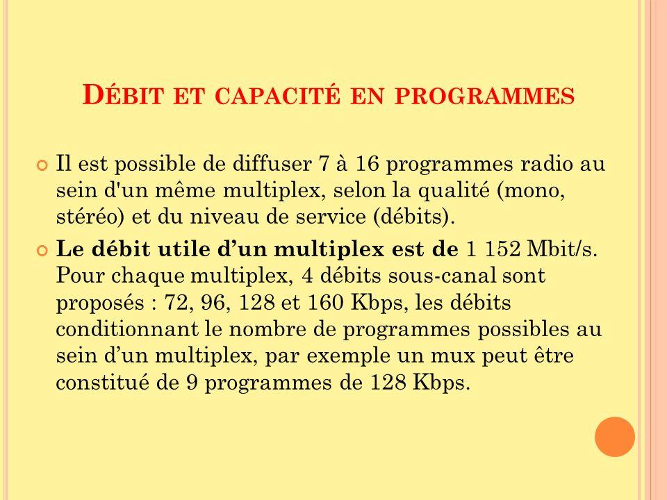D ÉBIT ET CAPACITÉ EN PROGRAMMES Il est possible de diffuser 7 à 16 programmes radio au sein d'un même multiplex, selon la qualité (mono, stéréo) et d