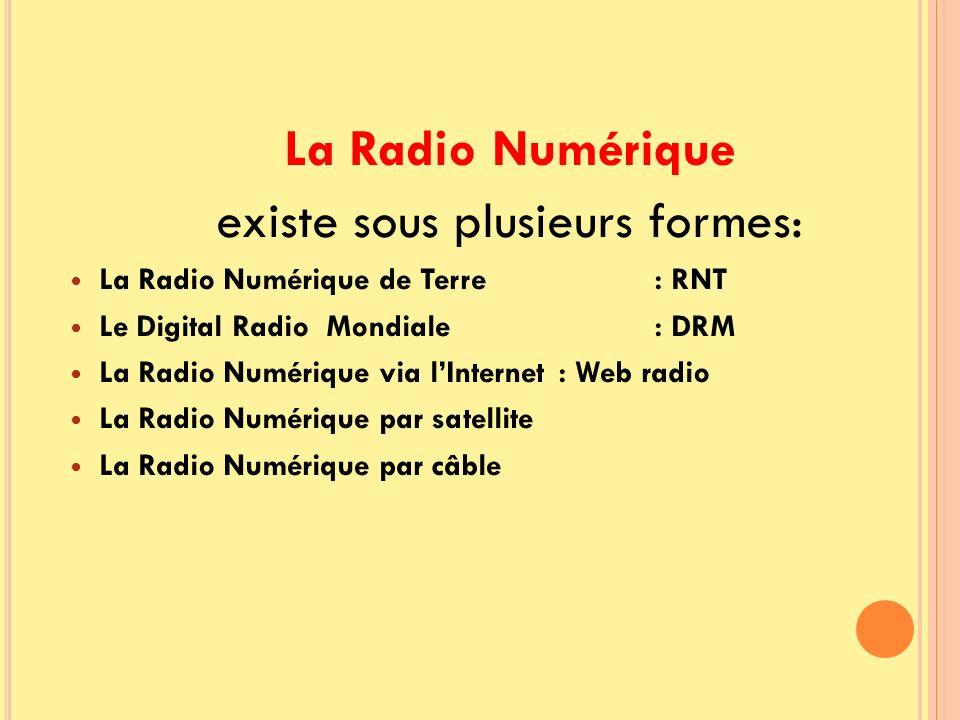 La Radio Numérique existe sous plusieurs formes: La Radio Numérique de Terre : RNT Le Digital Radio Mondiale : DRM La Radio Numérique via lInternet :