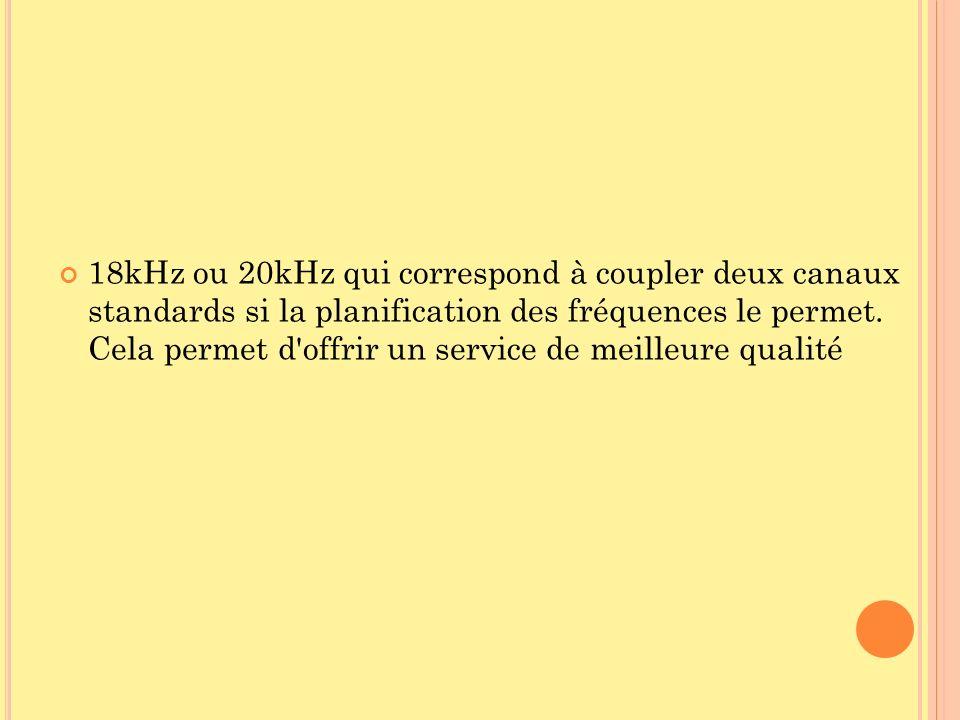 18kHz ou 20kHz qui correspond à coupler deux canaux standards si la planification des fréquences le permet. Cela permet d'offrir un service de meilleu