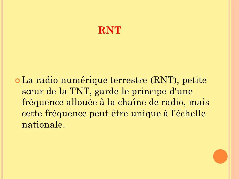 RNT La radio numérique terrestre (RNT), petite sœur de la TNT, garde le principe d'une fréquence allouée à la chaîne de radio, mais cette fréquence pe