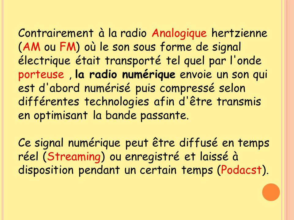 Contrairement à la radio Analogique hertzienne (AM ou FM) où le son sous forme de signal électrique était transporté tel quel par l'onde porteuse, la