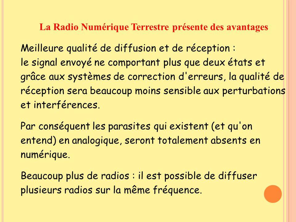 La Radio Numérique Terrestre présente des avantages Meilleure qualité de diffusion et de réception : le signal envoyé ne comportant plus que deux état