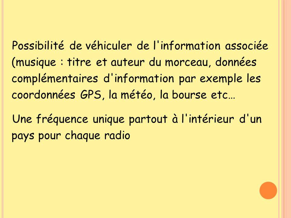 Possibilité de véhiculer de l'information associée (musique : titre et auteur du morceau, données complémentaires d'information par exemple les coordo