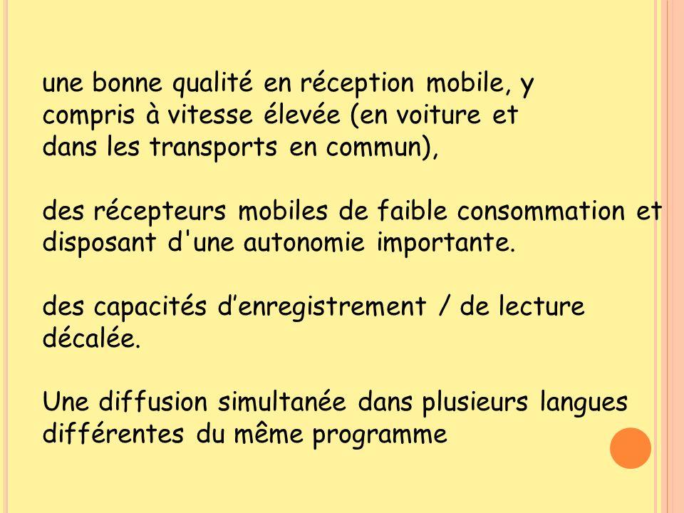 une bonne qualité en réception mobile, y compris à vitesse élevée (en voiture et dans les transports en commun), des récepteurs mobiles de faible cons