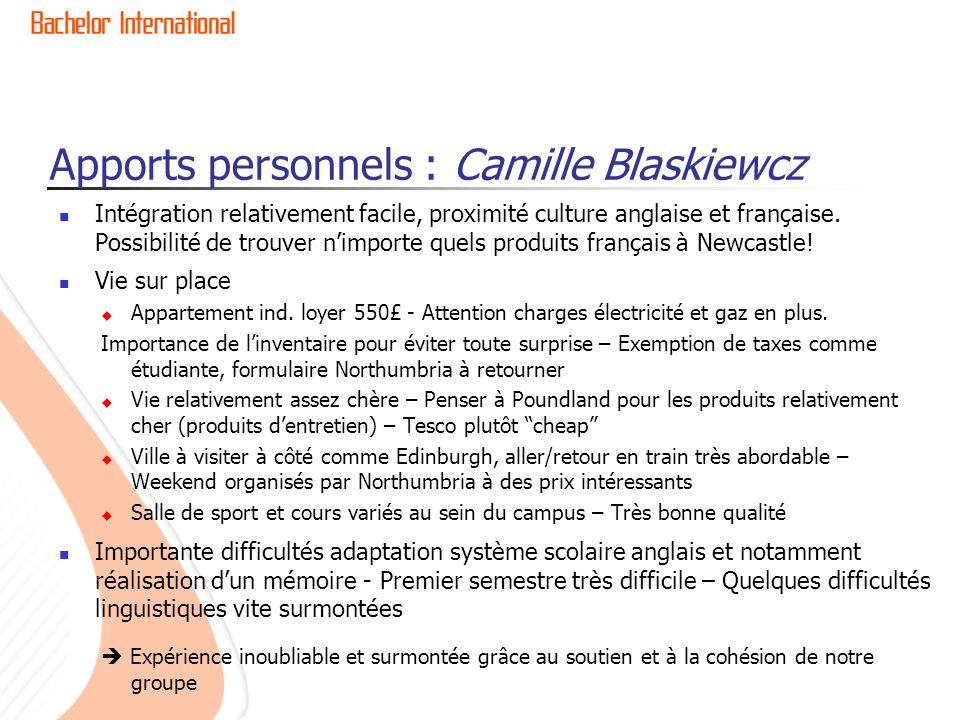 Apports personnels : Camille Blaskiewcz Intégration relativement facile, proximité culture anglaise et française. Possibilité de trouver nimporte quel