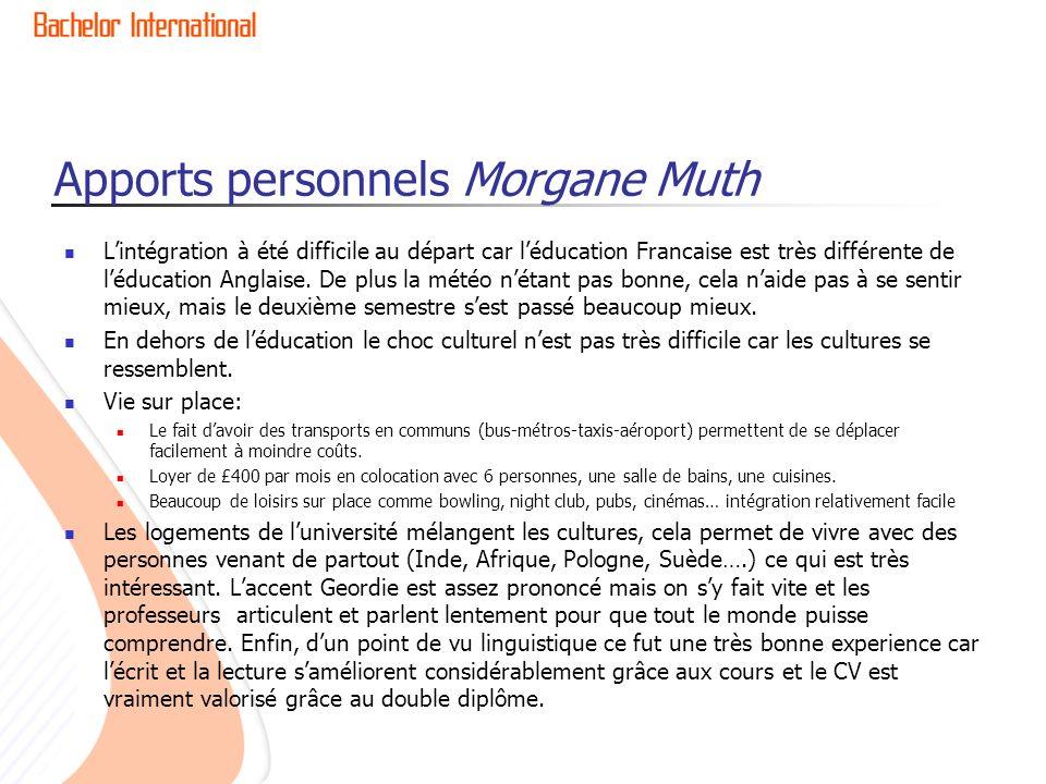 Apports personnels Morgane Muth Lintégration à été difficile au départ car léducation Francaise est très différente de léducation Anglaise. De plus la
