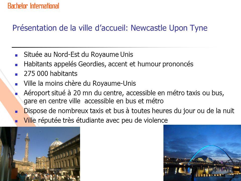 Présentation de la ville daccueil: Newcastle Upon Tyne Située au Nord-Est du Royaume Unis Habitants appelés Geordies, accent et humour prononcés 275 0