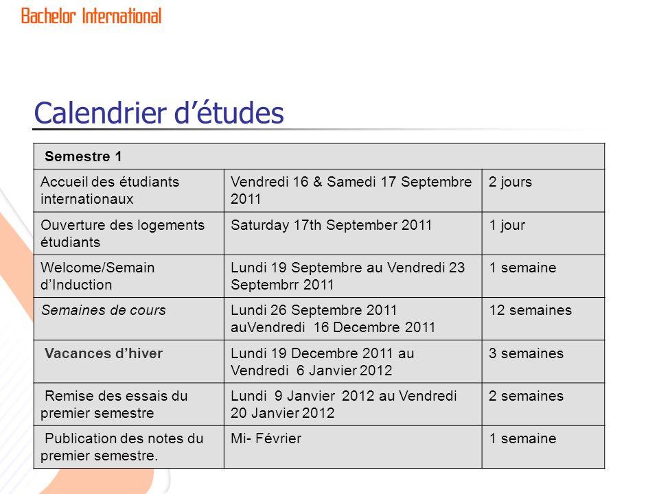 Calendrier détudes Semestre 1 Accueil des étudiants internationaux Vendredi 16 & Samedi 17 Septembre 2011 2 jours Ouverture des logements étudiants Sa