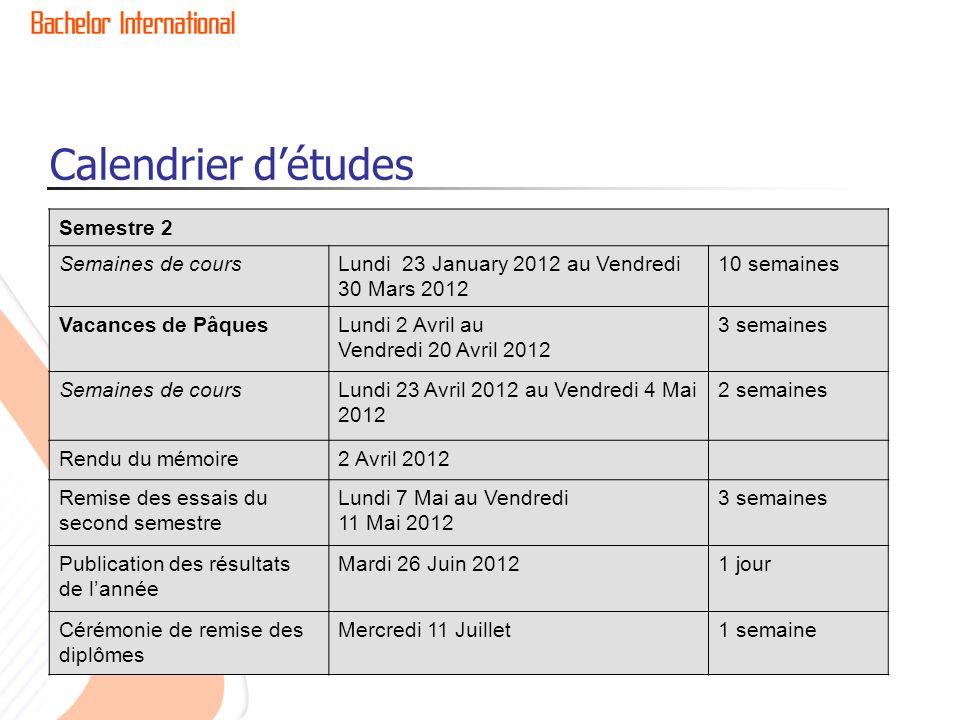 Calendrier détudes Semestre 2 Semaines de coursLundi 23 January 2012 au Vendredi 30 Mars 2012 10 semaines Vacances de PâquesLundi 2 Avril au Vendredi