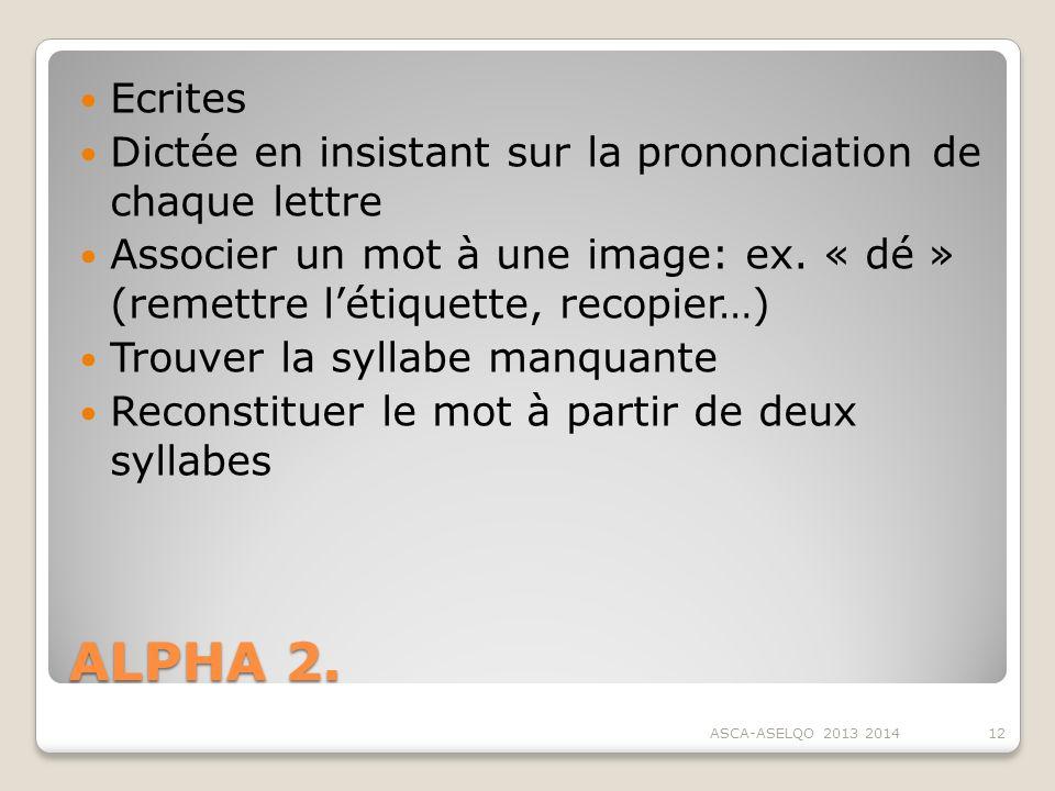 ALPHA 2. Ecrites Dictée en insistant sur la prononciation de chaque lettre Associer un mot à une image: ex. « dé » (remettre létiquette, recopier…) Tr
