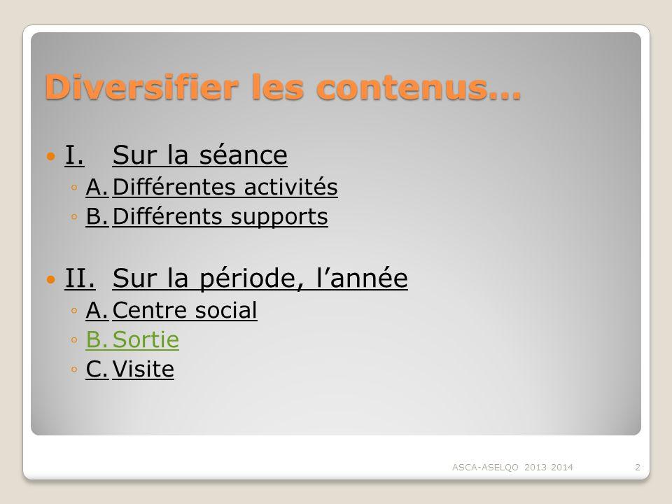 Diversifier les contenus… I.Sur la séance A.Différentes activités B.Différents supports II.Sur la période, lannée A.Centre social B.SortieB.Sortie C.V