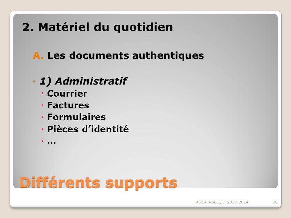 Différents supports 2. Matériel du quotidien A.Les documents authentiques 1) Administratif Courrier Factures Formulaires Pièces didentité … ASCA-ASELQ