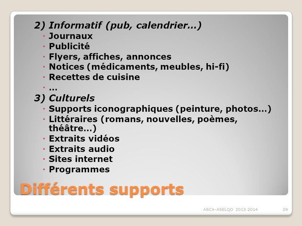 Différents supports 2) Informatif (pub, calendrier…) Journaux Publicité Flyers, affiches, annonces Notices (médicaments, meubles, hi-fi) Recettes de c