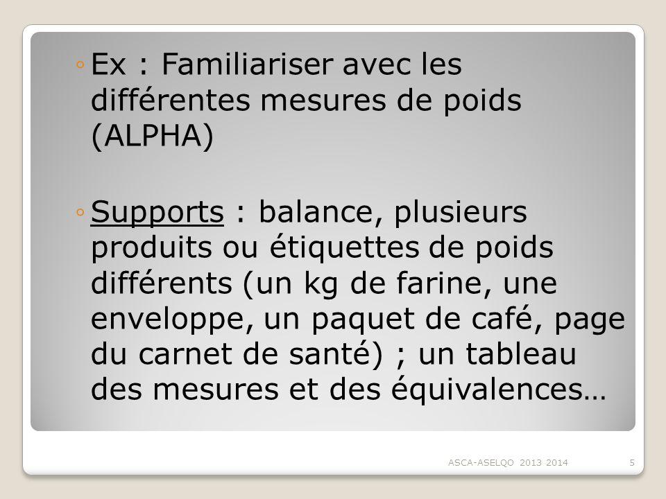 Ex : Familiariser avec les différentes mesures de poids (ALPHA) Supports : balance, plusieurs produits ou étiquettes de poids différents (un kg de far