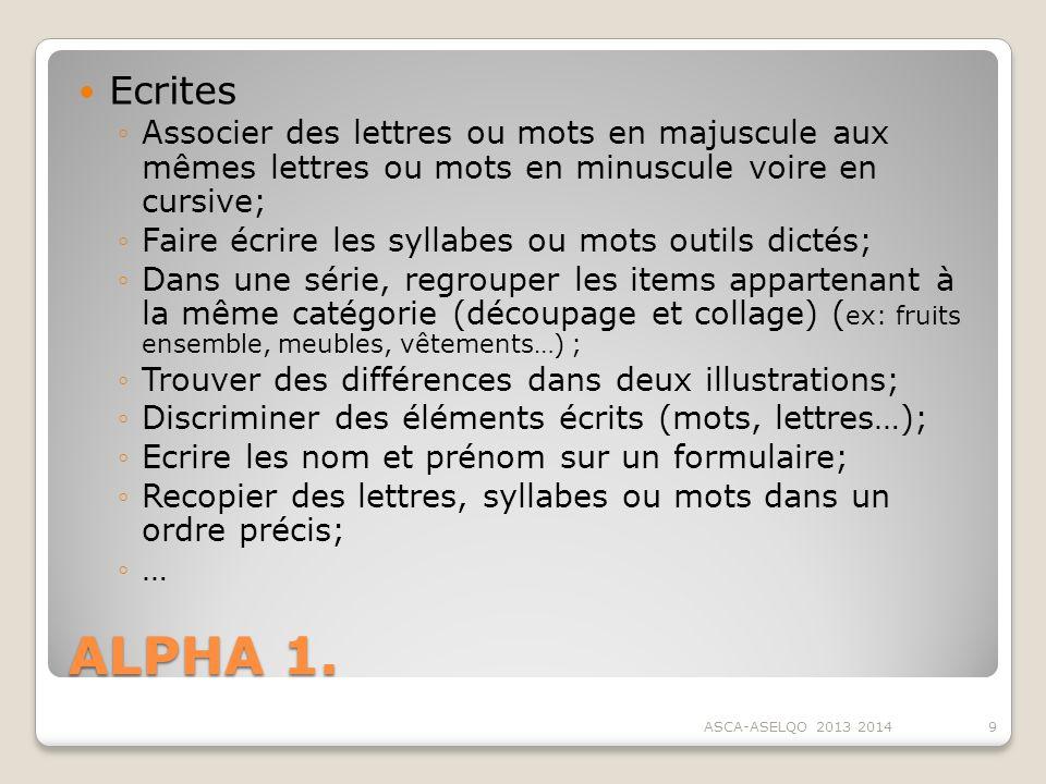 ALPHA 1. Ecrites Associer des lettres ou mots en majuscule aux mêmes lettres ou mots en minuscule voire en cursive; Faire écrire les syllabes ou mots