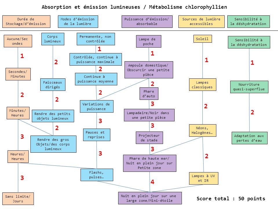 Absorption et émission lumineuses / Métabolisme chlorophyllien Aucune/Sec ondes Secondes/ Minutes Minutes/ Heures Heures/ Heures Contrôlée, continue à