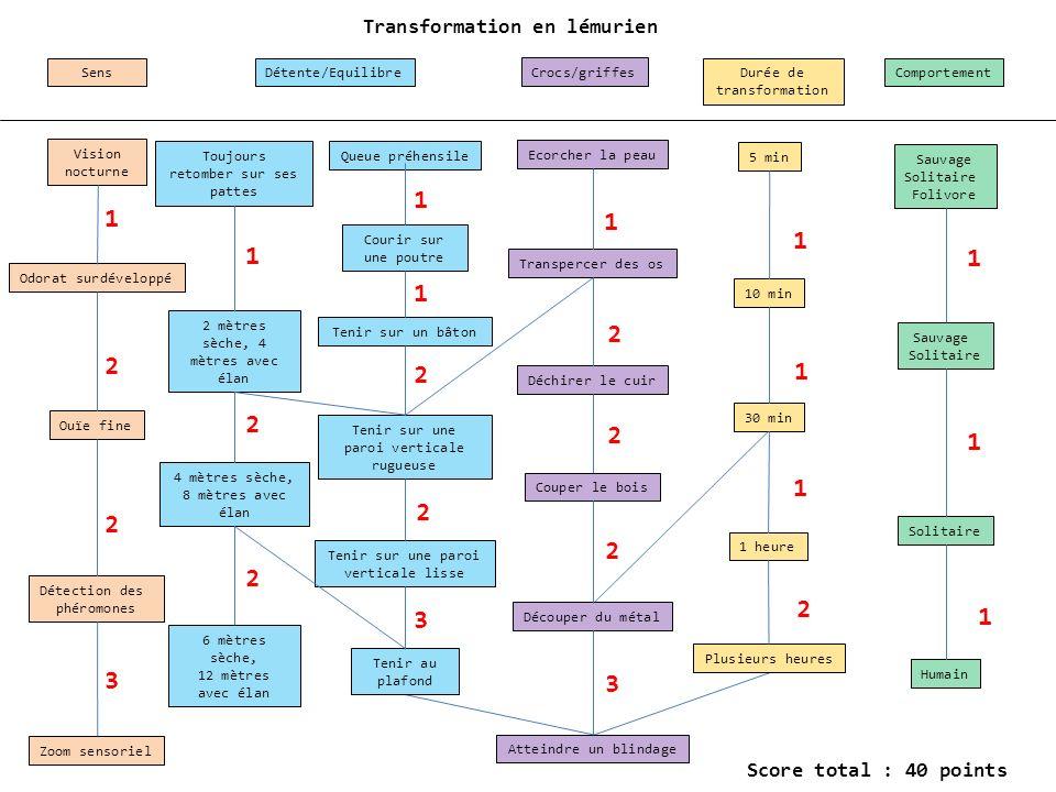 Transformation en lémurien SensDétente/EquilibreCrocs/griffesDurée de transformation Comportement 5 min 10 min 30 min 1 heure Sauvage Solitaire Folivo