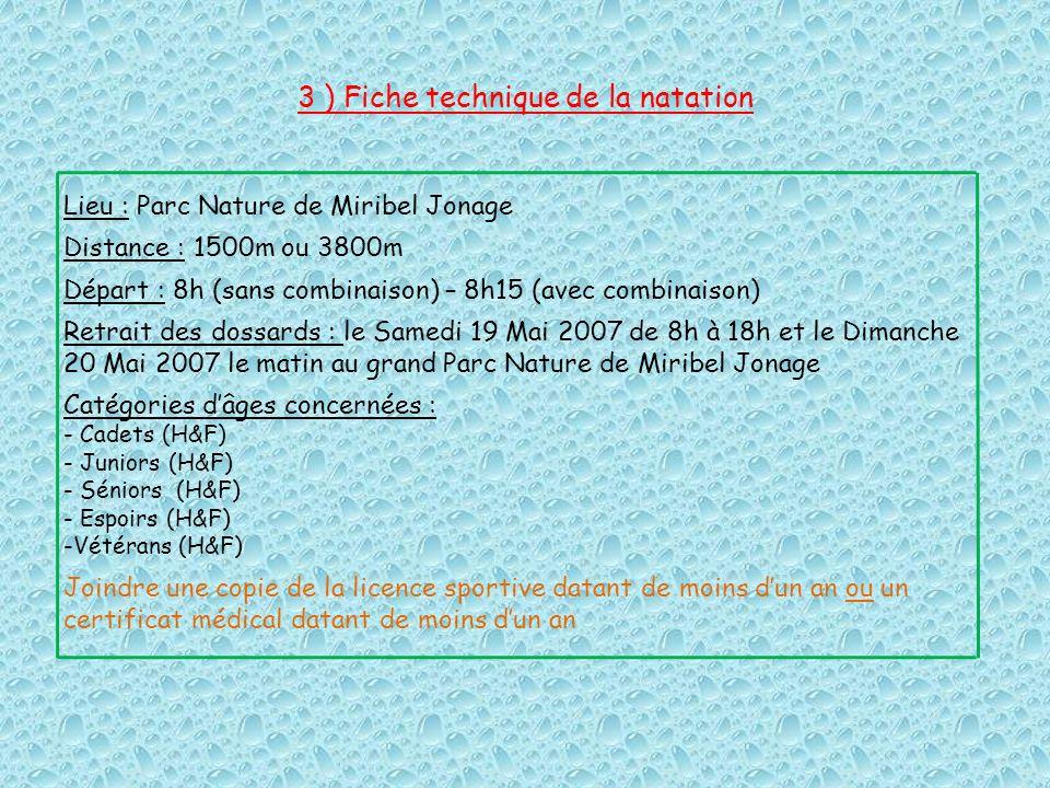 3 ) Fiche technique de la natation Lieu : Parc Nature de Miribel Jonage Distance : 1500m ou 3800m Départ : 8h (sans combinaison) – 8h15 (avec combinai