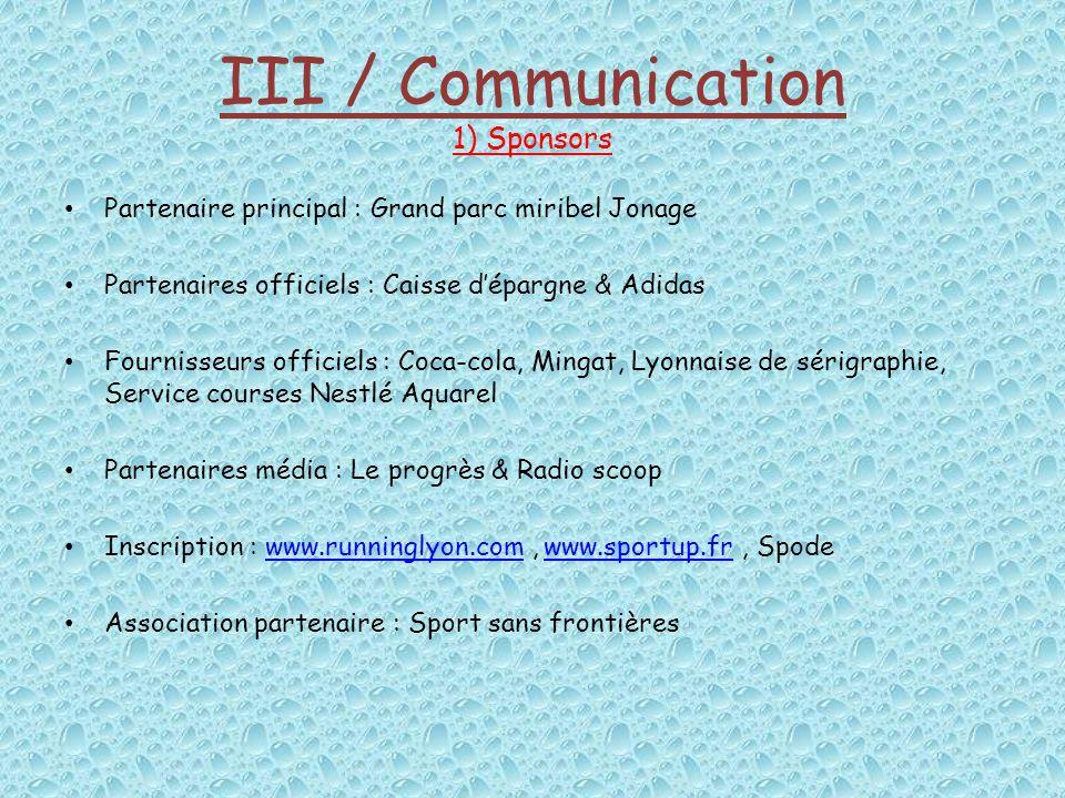 III / Communication 1) Sponsors Partenaire principal : Grand parc miribel Jonage Partenaires officiels : Caisse dépargne & Adidas Fournisseurs officie