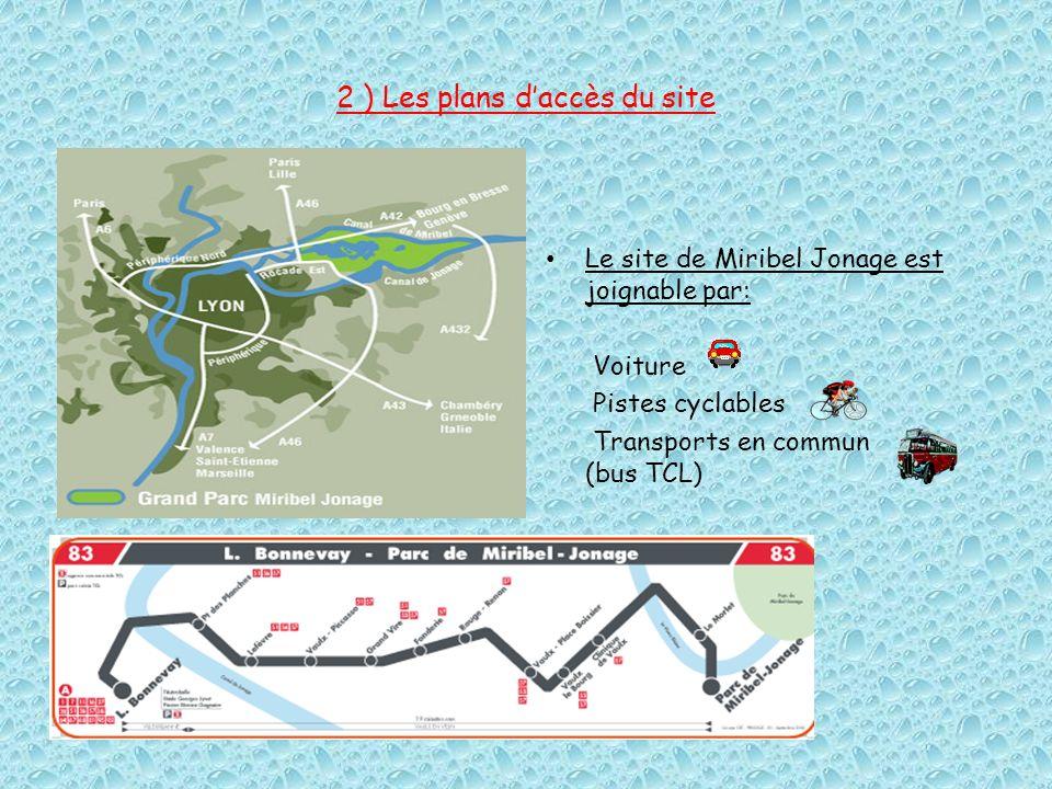 2 ) Les plans daccès du site Le site de Miribel Jonage est joignable par: Voiture Pistes cyclables Transports en commun (bus TCL)