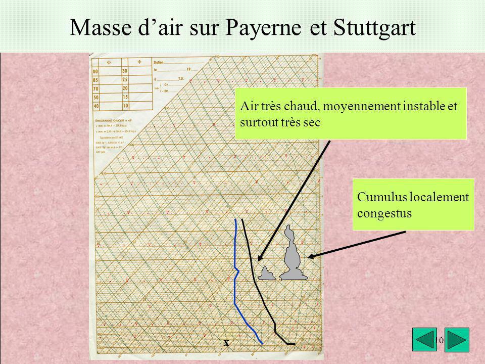 météo montagne Fièque JP10 Masse dair sur Payerne et Stuttgart Air très chaud, moyennement instable et surtout très sec x 10 Cumulus localement conges