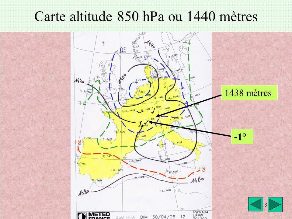 météo VAV Montricher Fièque JP18 Carte altitude 850 hPa ou 1440 mètres 1438 mètres -4° 0° +4 +8 -1°
