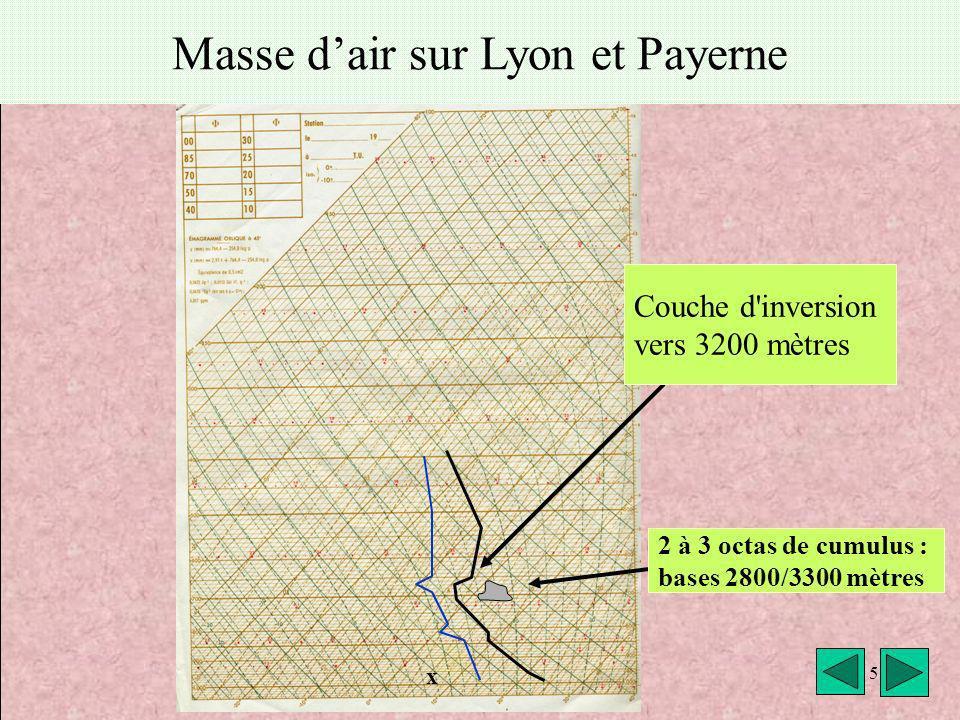 météo montagne Fièque JP5 Masse dair sur Lyon et Payerne x 5 Couche d'inversion vers 3200 mètres 2 à 3 octas de cumulus : bases 2800/3300 mètres