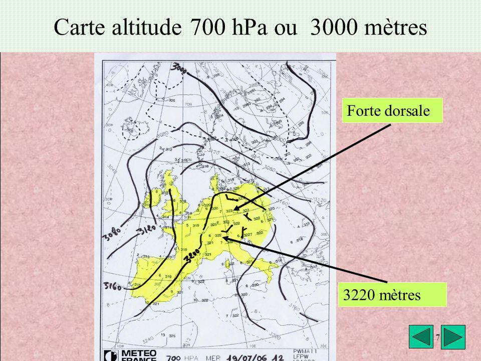 météo VAV Montricher Fièque JP7 Carte altitude 700 hPa ou 3000 mètres Forte dorsale 3220 mètres