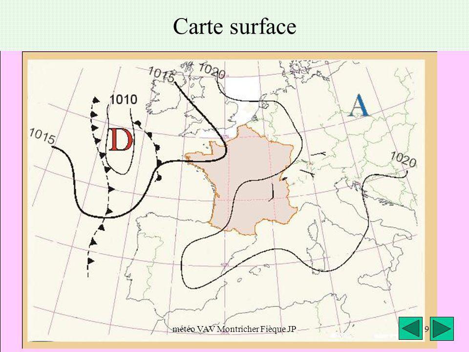 météo VAV Montricher Fièque JP9 Carte surface