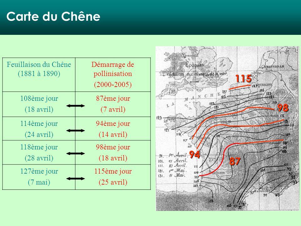 87 94 98 115 Carte du Chêne Feuillaison du Chêne (1881 à 1890) Démarrage de pollinisation (2000-2005) 108ème jour (18 avril) 87ème jour (7 avril) 114è