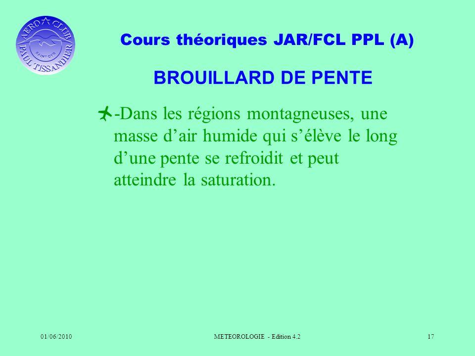 Cours théoriques JAR/FCL PPL (A) 01/06/2010METEOROLOGIE - Edition 4.217 BROUILLARD DE PENTE -Dans les régions montagneuses, une masse dair humide qui