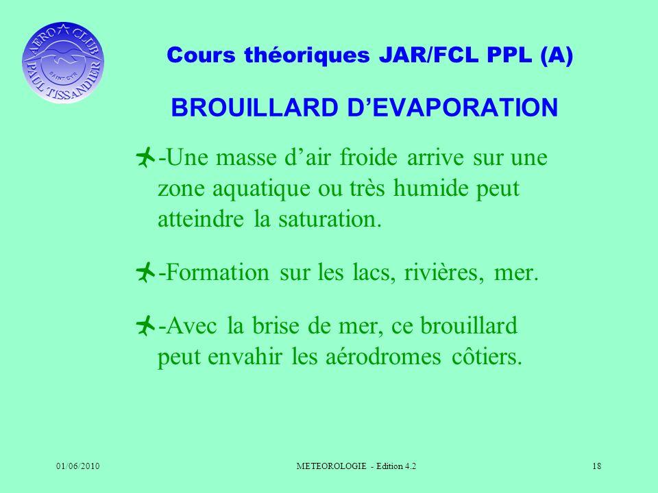 Cours théoriques JAR/FCL PPL (A) 01/06/2010METEOROLOGIE - Edition 4.218 BROUILLARD DEVAPORATION -Une masse dair froide arrive sur une zone aquatique o