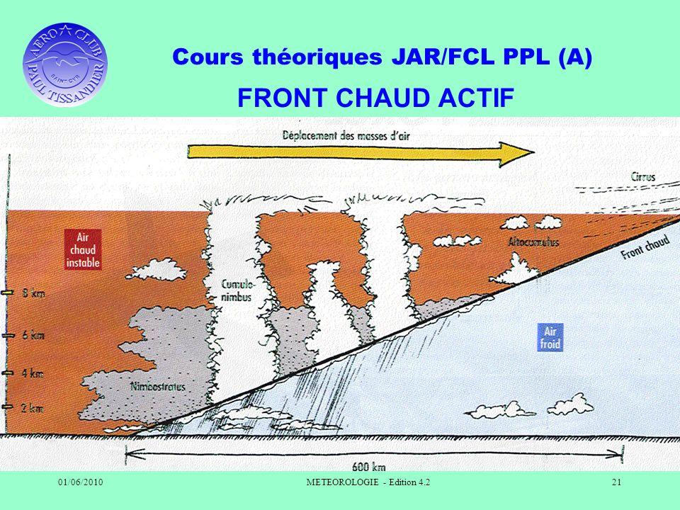 Cours théoriques JAR/FCL PPL (A) 01/06/2010METEOROLOGIE - Edition 4.221 FRONT CHAUD ACTIF