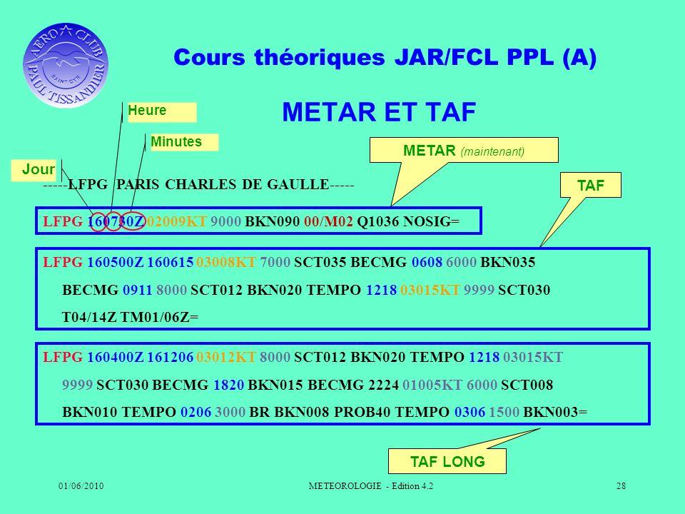 Cours théoriques JAR/FCL PPL (A) 01/06/2010METEOROLOGIE - Edition 4.228 LFPG 160400Z 161206 03012KT 8000 SCT012 BKN020 TEMPO 1218 03015KT 9999 SCT030