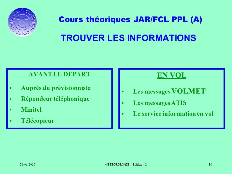 Cours théoriques JAR/FCL PPL (A) 01/06/2010METEOROLOGIE - Edition 4.230 TROUVER LES INFORMATIONS AVANT LE DEPART Auprès du prévisionniste Répondeur té