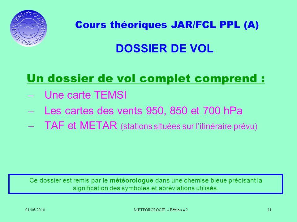 Cours théoriques JAR/FCL PPL (A) 01/06/2010METEOROLOGIE - Edition 4.231 DOSSIER DE VOL Un dossier de vol complet comprend : – Une carte TEMSI – Les ca