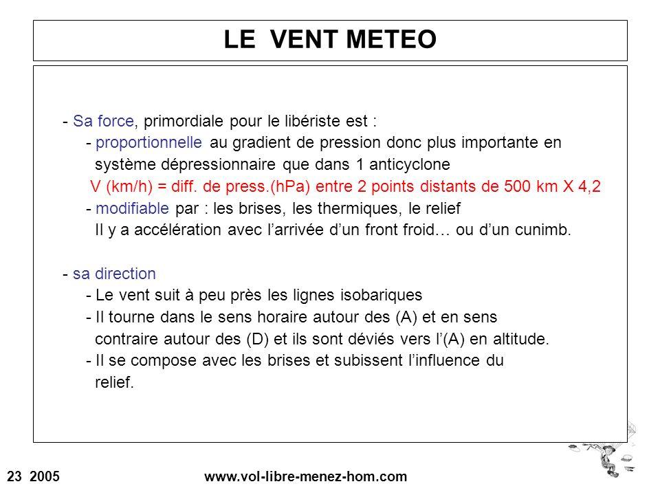 23 2005 www.vol-libre-menez-hom.com LE VENT METEO - Sa force, primordiale pour le libériste est : - proportionnelle au gradient de pression donc plus