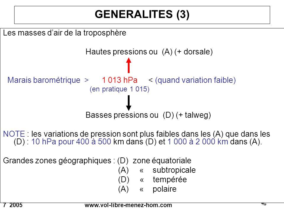 7 2005 www.vol-libre-menez-hom.com GENERALITES (3) Les masses dair de la troposphère Hautes pressions ou (A) (+ dorsale) Marais barométrique > 1 013 h