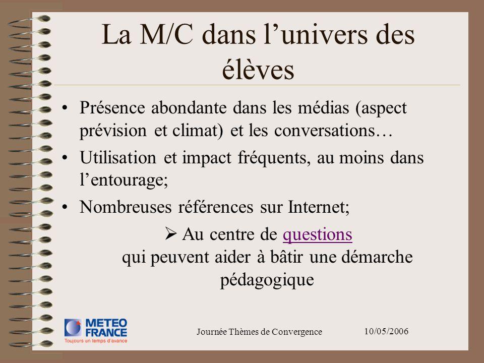 10/05/2006 Journée Thèmes de Convergence La M/C dans lunivers des élèves Présence abondante dans les médias (aspect prévision et climat) et les conver