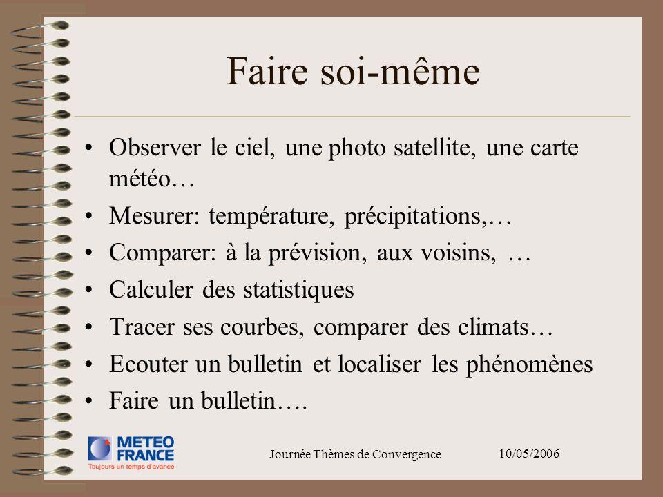 10/05/2006 Journée Thèmes de Convergence Faire soi-même Observer le ciel, une photo satellite, une carte météo… Mesurer: température, précipitations,…