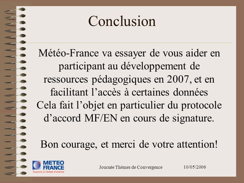 10/05/2006 Journée Thèmes de Convergence Météo-France va essayer de vous aider en participant au développement de ressources pédagogiques en 2007, et