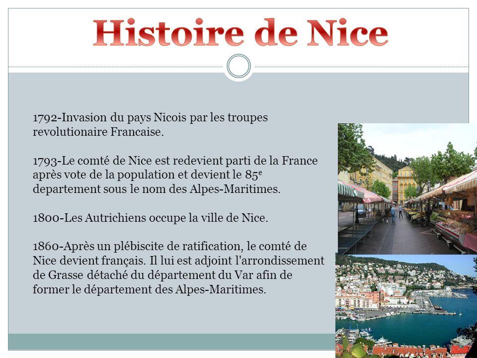 1792-Invasion du pays Nicois par les troupes revolutionaire Francaise. 1793-Le comté de Nice est redevient parti de la France après vote de la populat