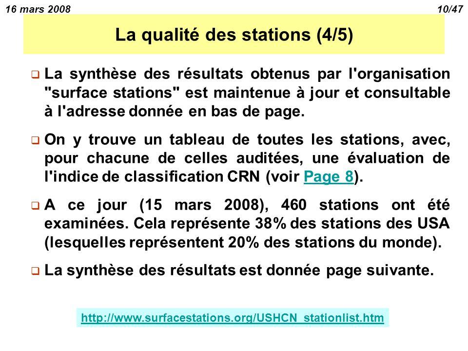 16 mars 200810/47 La qualité des stations (4/5) La synthèse des résultats obtenus par l organisation surface stations est maintenue à jour et consultable à l adresse donnée en bas de page.