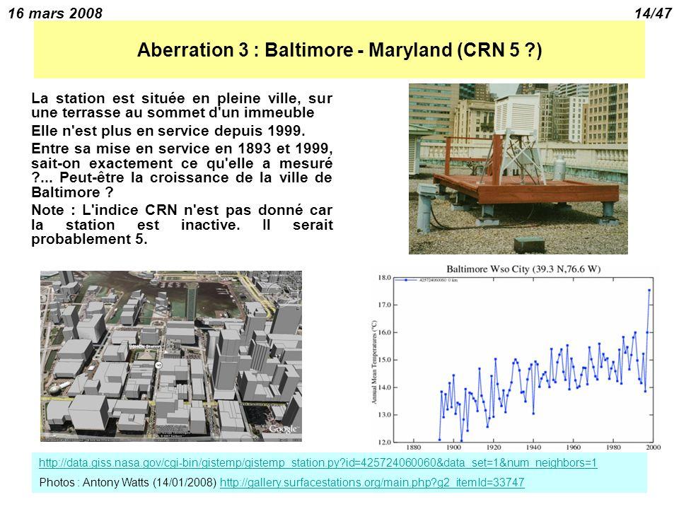 16 mars 200814/47 Aberration 3 : Baltimore - Maryland (CRN 5 ?) La station est située en pleine ville, sur une terrasse au sommet d un immeuble Elle n est plus en service depuis 1999.