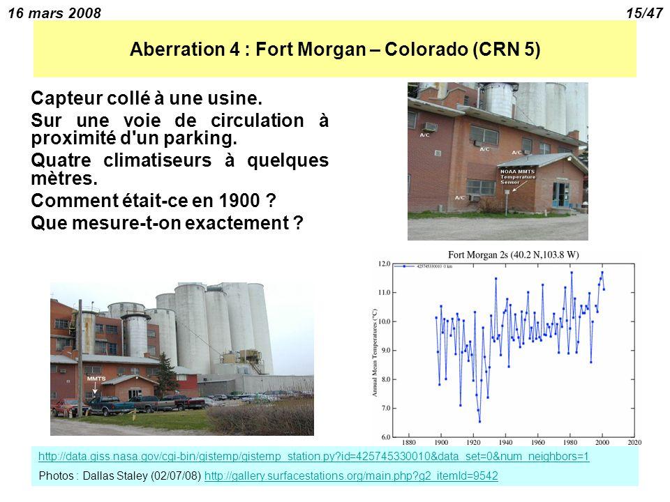 16 mars 200815/47 Aberration 4 : Fort Morgan – Colorado (CRN 5) Capteur collé à une usine.