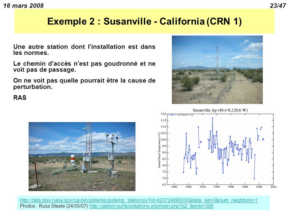 16 mars 200823/47 Exemple 2 : Susanville - California (CRN 1) Une autre station dont l installation est dans les normes.