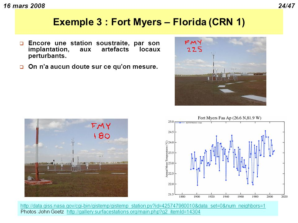 16 mars 200824/47 Exemple 3 : Fort Myers – Florida (CRN 1) Encore une station soustraite, par son implantation, aux artefacts locaux perturbants. On n