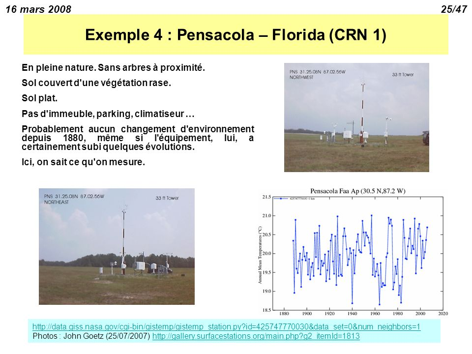 16 mars 200825/47 Exemple 4 : Pensacola – Florida (CRN 1) En pleine nature.